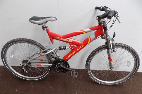 "Apollo unleashed red/silver 26"" full suspension 21 gears bike"