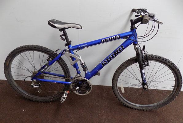"Rhino Inertia blue 26"" full suspension bike"