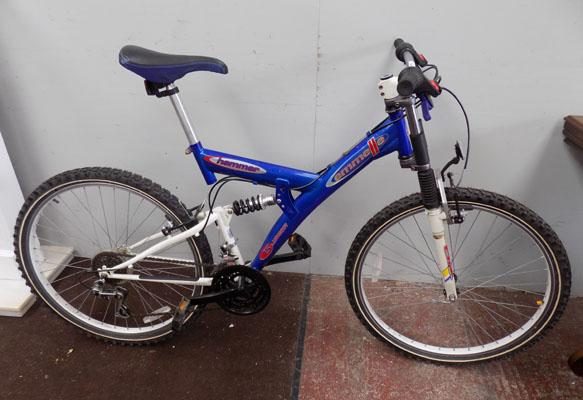 "Emmelle Hammer blue/white 26"" full suspension 15 gears bike"