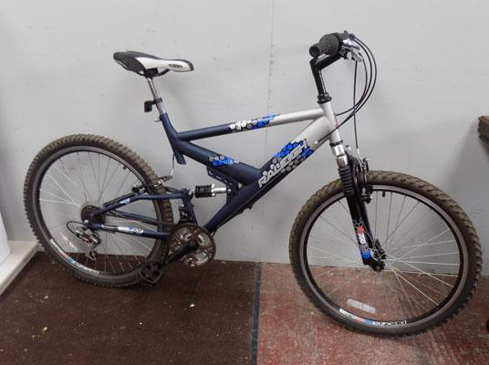 "Raleigh Vulture blue/silver 26"" full suspension 18 gears bike"
