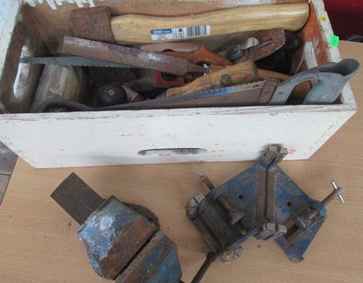 Wooden box of assorted tools