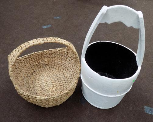 Wicker basket, wooden barrel