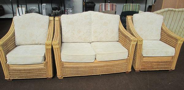 2 chairs and a 2 seater conservatory sofa.
