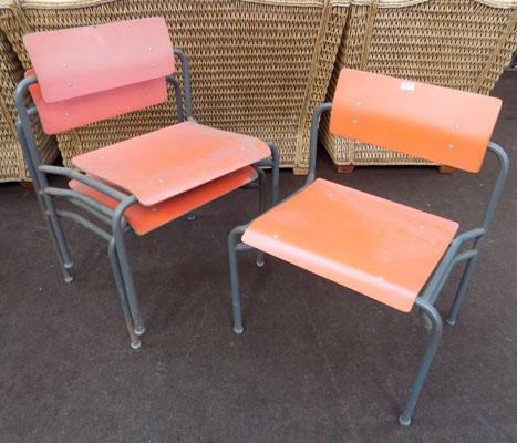 Industrial remploy stacking chairs x3