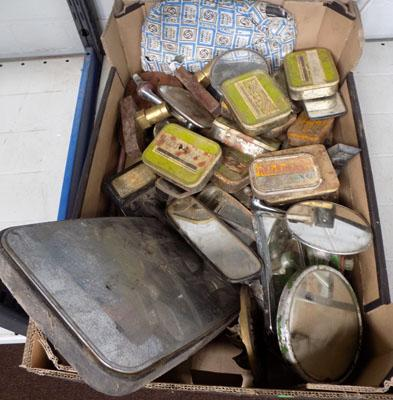 Box of wing mirrors and old tins