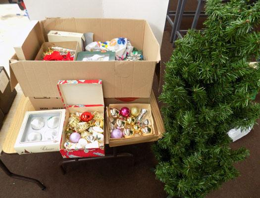 Box of Christmas tree decorations - some vintage + Christmas tree