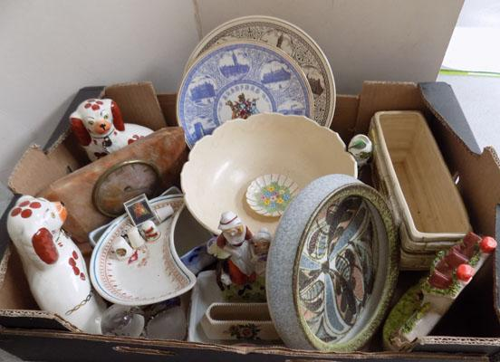 Box of assorted pottery including Sylvac/Spode/Denby