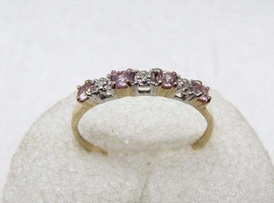 9ct gold pink citrine 3 diamond ring