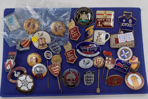 Collection of badges and pins