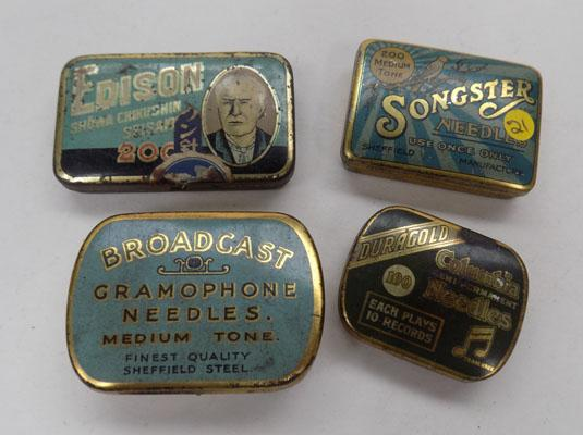 4 vintage tins of gramophone needles
