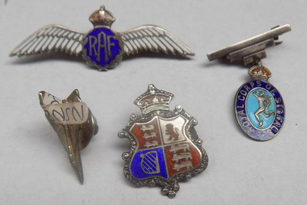 collection of Military badges and pins