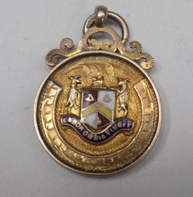 Quality 9ct gold & enamel fob watch medal