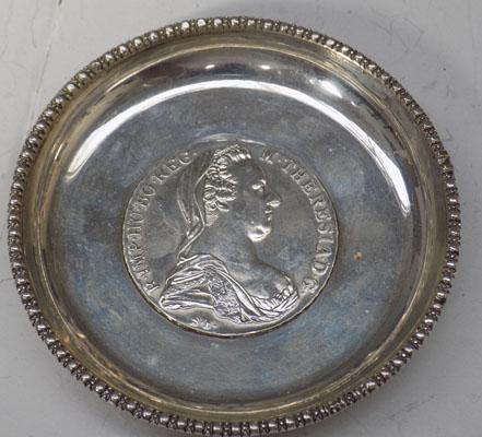 Rare antique silver trinket bowl Marie Theresa silver coin to base dated 1780