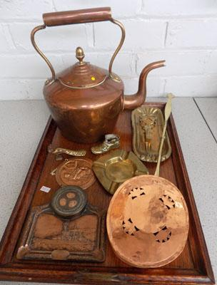Collectionn of copper/brass on wood tray