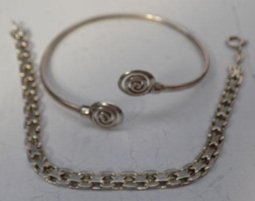 Silver bracelet and silver hoop bangle