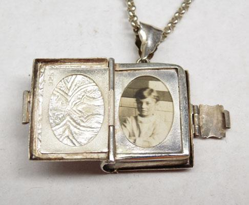Solid silver chain & unusual book locket
