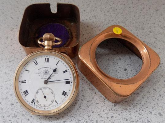 10ct gold plated pocket watch - Thos. Russell & Son