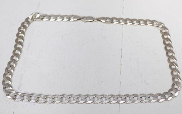 Silver very heavy curb link neck chain
