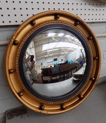 Round convex mirror - Mirrart product gilt framed Regency style convex wall mirror