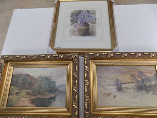 3 pictures in gilt frames