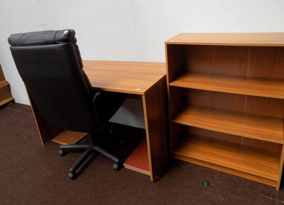 Leather office chair/teak office desk/bookcase