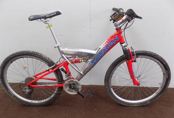 "Saracen D-Tox red/silver 26"" full suspension 24 gear bike"