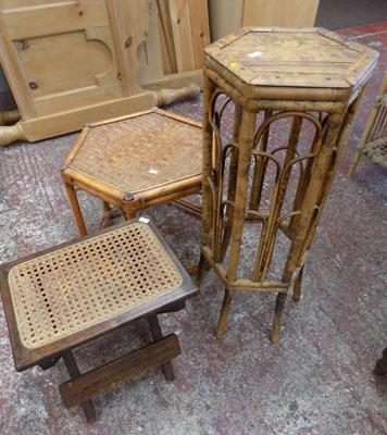 2 bamboo tables & small folding table