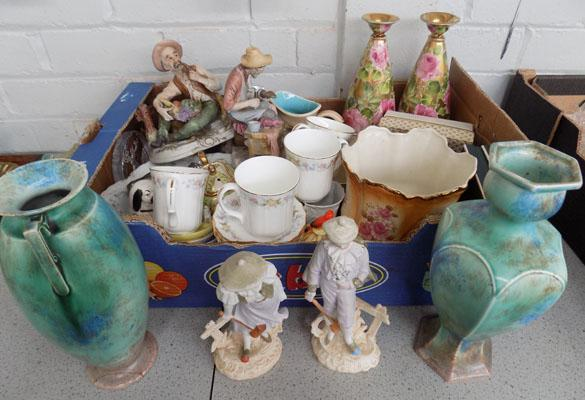 Mixed box of collectables including Wade/Minton etc.