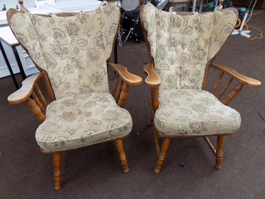 Pair oak carver chairs