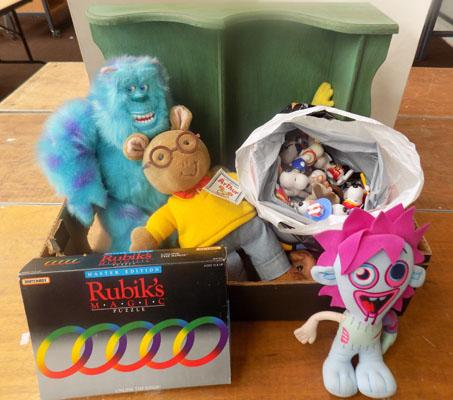 Box of collectable toys & Merrythought display