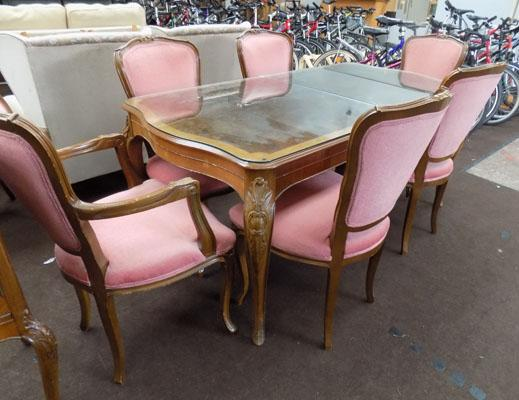 Reproduction walnut veneered extending table + 6 chairs