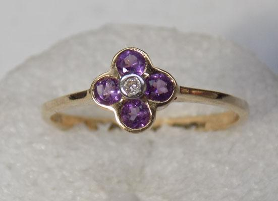 9ct gold 4 amethyst diamond cluster ring