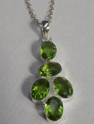 Large silver peridot necklace