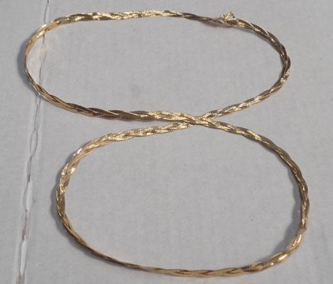 9ct gold necklace 3 strands platted