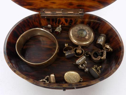 Box of Georgian fobs/gold plated bangle/pocket watch
