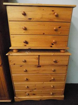 2 sets of pine drawers