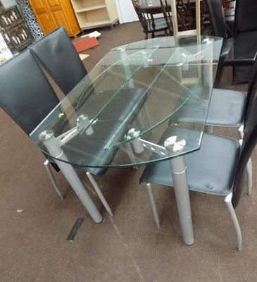 4 chairs + glass dining table