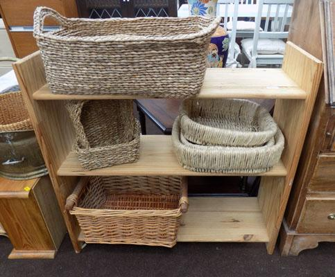 Pine shelving unit with baskets