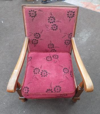 Child's oak upholstered chair with castors