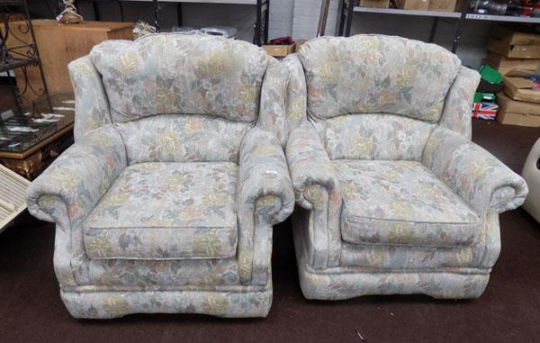 Pair of floral patterned chairs