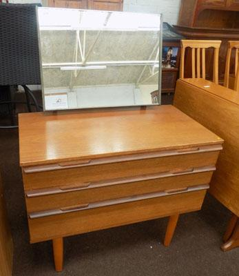 3 drawer teak dressing table including mirror