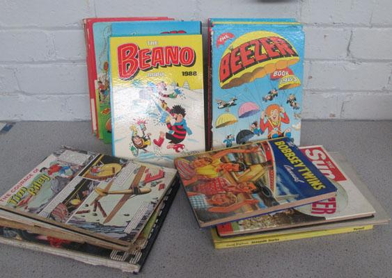 Collection of vintage annuals including Dandy