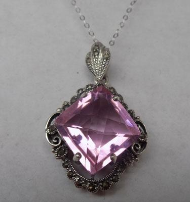 Art deco silver pink topaz + marcasite pendant on silver chain