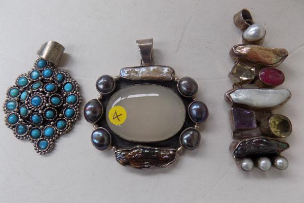 3 x silver pendants with stones