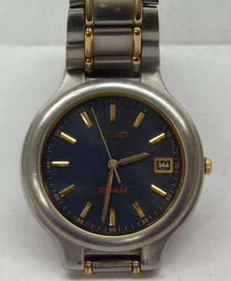 Gents Seiko titanium date dial watch