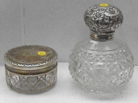 2 silver topped cut glass lidded pots/jars