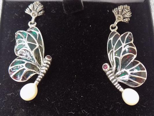 Pair of silver + pearl butterfly earrings