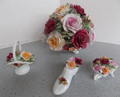Large Royal Albert Country Rose Posy + 3 small posies
