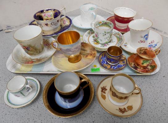 Tray of assorted cups and saucers including coal port