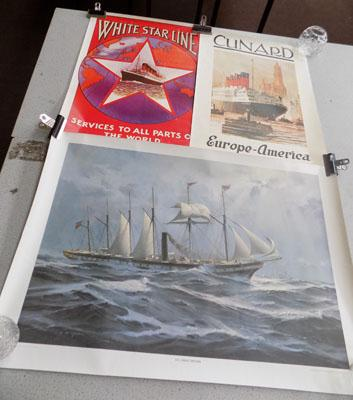 3x ship posters-Cunard- SS Great Britain and white Star Line